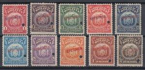 Bolivia 1919-20 Complete ABN Set with Specimen overprint. MNH. Scott 118-127var