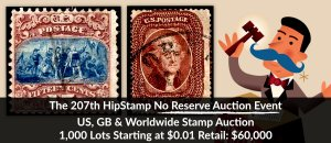 The 207th HipStamp No Reserve Auction Event