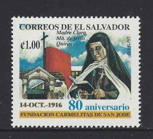 EL SALVADOR MOTHER CLARA MARIA of JESUS QUIROS Sc 1459 MNH 1997