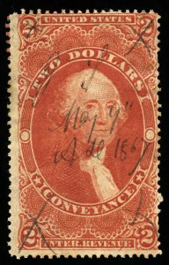 B334 U.S. Revenue Scott R81c $2 Conveyance 1867 manuscript cancel