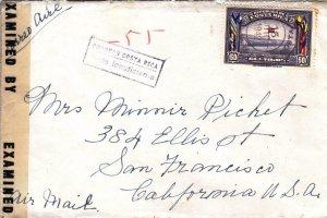1942, Costa Rica to San Francisco, CA, Censored, See Remark (C3292)
