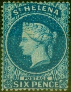 St Helena 1861 6d Blue SG2 Clean Cut Perf Good Mtd Mint Scarce