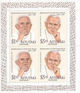 Aitutaki 2013 Popes John Paul II & Benedict I 4 Stamp Sheet Scott #580 1M-020