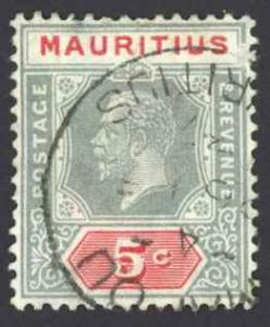 Mauritius Sc# 152 Used 1912-1922 5c gray & rose King George V