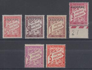 Andorra, French Sc J3/J20 MLH. 1931-1941 Postage Dues, 6 different F-VF
