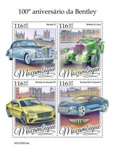 MOZAMBIQUE - 2019 - Bentley Cars - Perf 4v Sheet - MNH