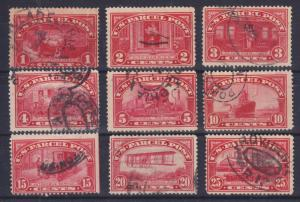US Sc Q1-Q9 used 1913 Parcel Post to 25c value, Nice Appearing