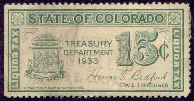 Colorado State Revenue Stamp 15c Liquor Tax # WL3