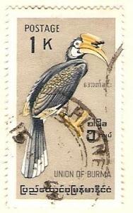 1968 Burma(Myanmar) Scott 206 Malabar Pied Hornbill used