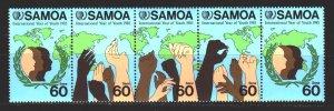 Samoa. 1985. 571-75. International Year of Youth, hands. MNH.