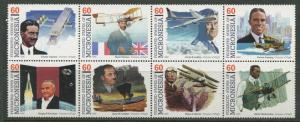 Micronesia -Scott 249 - Pioneers of Flight - 1996- MNH- Block of 8 X 60c -Stamp