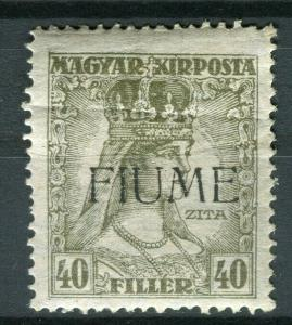 FIUME; Hungarian 1918 Zita Optd. issue Mint hinged 40f. value