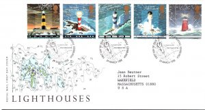 Great Britain, Worldwide First Day Cover, Lighthouses