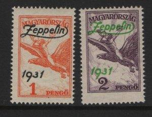 HUNGARY  C24-25 MNH ZEPPELIN SET 1931