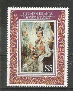 PITCAIRN ISLANDS, 1993, MNH  $5,,Coronation Queen Elizabeth Scott 383