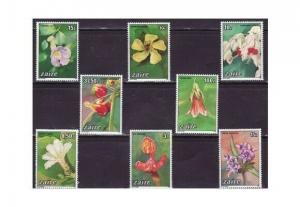 Zaire - Flowers on Stamps - 8 Stamp  Set  - 1146-53