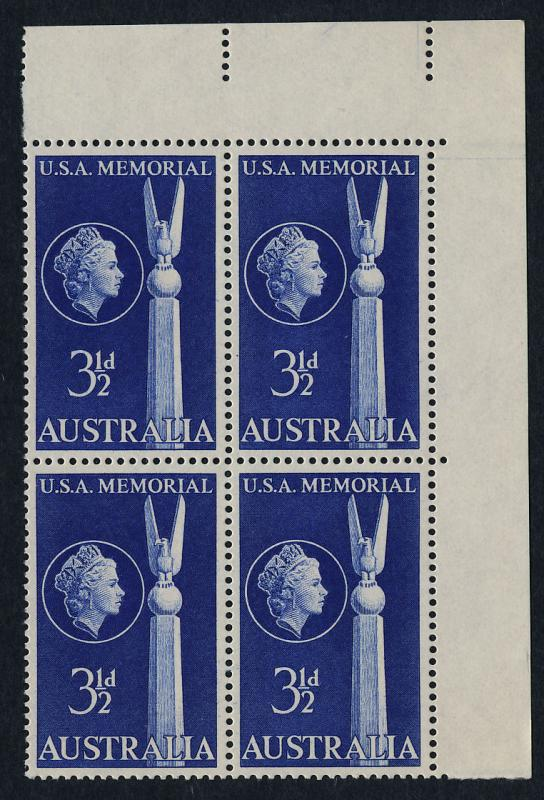 Australia 280 TR Block MNH USA Memorial
