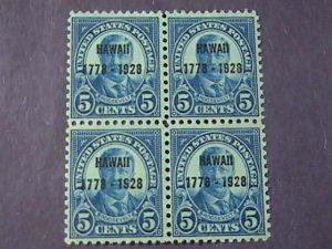 U.S.# 648-MINT/NEVER HINGED--BLOCK OF 4-HAWAII OVERPRINT-1928