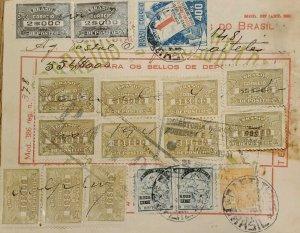 A) 1941, BRAZIL, NATIONAL POSTCARD, REVENUE STAMP, 17 STAMPS
