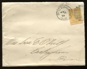 Canada 1 Cent Small Queen tied by May 22th 1897 CDS on local Buckingham QC cover