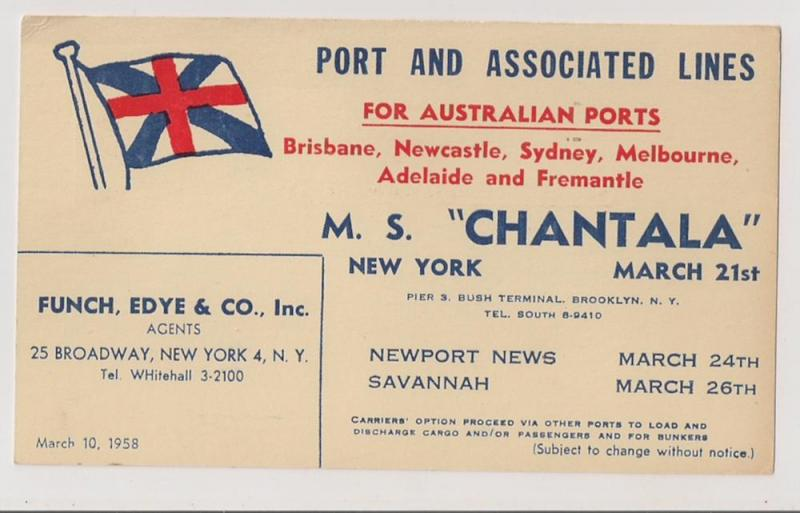 UX38 used 1958 with color advert for MS Chantala FLAG etc