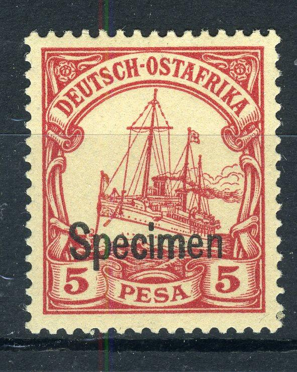 SPECIMEN Overprint on German East Africa 5 Pesa Yacht, MNH