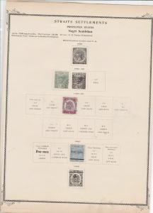 negri sembilan mounted mint used stamps on old album page ref r9048