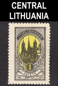 Central Lithuania Scott 35 UNLISTED perf 11 3/4 & WRONG COLOR ERROR F+ mint H.