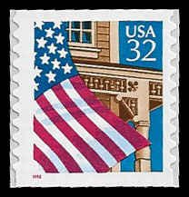 PCBstamps     US #2915A 32c Flag over Porch,coil, small red 1996, MNH, (5)
