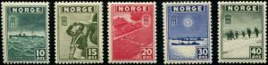 Norway SC# 261-65 War Ships, Planes, Troops MH