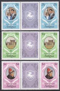 Antigua Sc #623-625 MNH Gutter Pairs
