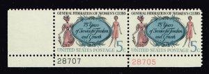 US STAMP #1316 –1966 5c Women's Clubs COLOR SHIFTED ERROR MNH/OG PL# PAIR