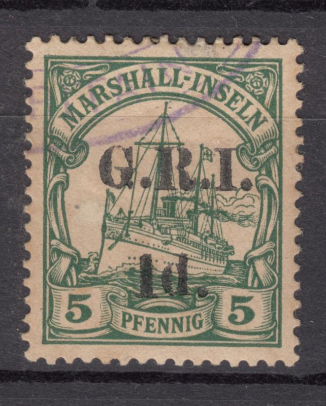 MARSHALL ISLANDS SG 51 1d GRI on 5pfg Yacht Very Fine Used