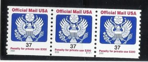 O159  37c Official Coil Pl# Strip of 3 MNH VF Centering
