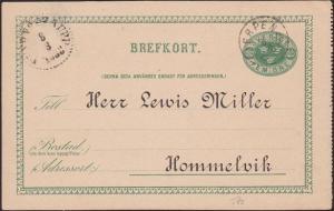 SWEDEN 1888 postcard HJERPEN cds, Railway TPO cds...........................6783