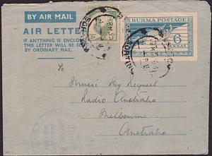 BURMA 1954 Uprated 6a aerogramme used to Australia - ex Rangoon.............5861