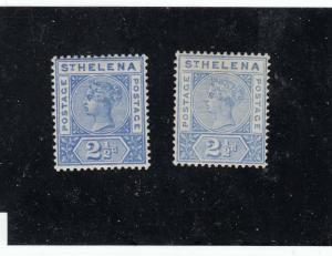 ST HELENA QUEEN VICTORIAN ISSUES #s 44 x 2 #46 x2 MLH SHADES CAT VALUE $94