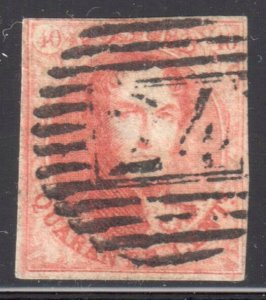 Belgium #8a - Ribbed Paper --  USED with target cancel #24