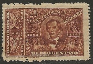 Mexico Revenue 1892-93 Renta Interior Ocampo ½c Brown Fine HR CV 9.00