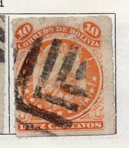 Bolivia 1887 Early Issue Fine Used 10c. Rouletted 096657