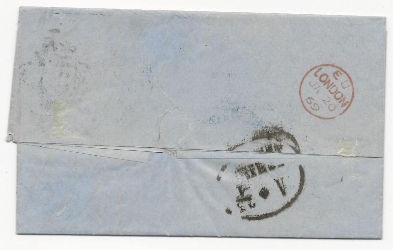 GREAT BRITAIN Scott #45 Pl #6 on Cover to Austria 1869