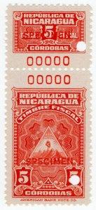(I.B) Nicaragua Revenue : Duty Stamp 5CD (ABN Specimen)