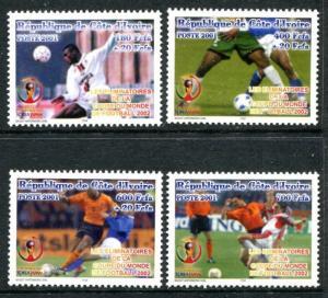 Ivory Coast  1102-1105 MNH Soccer 2001  x12116