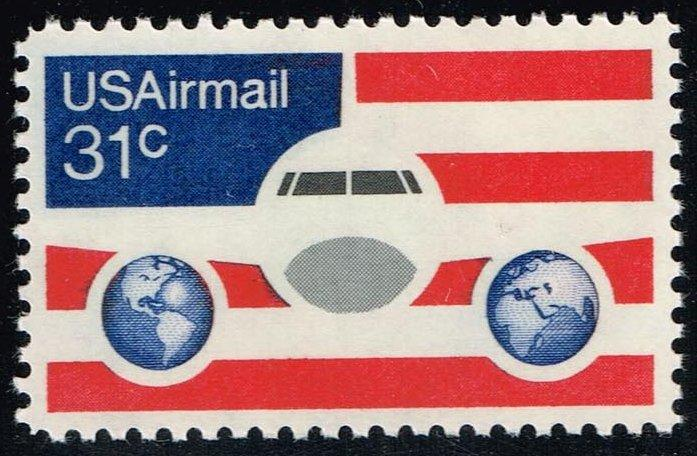 US #C90 Plane; Globes and Flag; MNH (0.60)