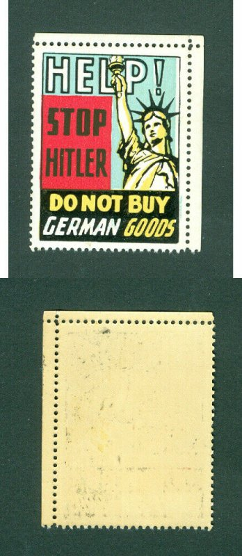 USA. Patriotic WWII Poster Stamp MNH.  Stop Hitler. Do Not Buy German Goods