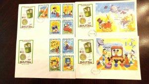 "Rare Bhutan ""Special"" 04 Mickey & Dingo Communication Cachet 1er Jour Housse"