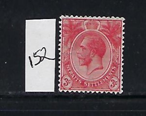 STRAITS SETTLEMENTS SCOTT #152 1912-13 GEORGE V DIE I WMK 3- 3C (RED)  MINT LH