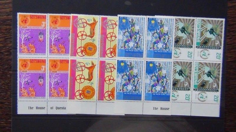 Botswana 1973 Centenary of IMO/WMO Norse Myths set in blocks x 4 MNH
