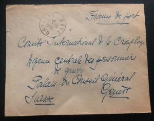 1942 France Concentration Internment Camp Brens Guard Cover To Redcross Swiss