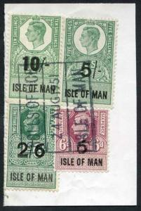 Isle of Man KGVI 10/- 5/- 2/6 and 6d Key Plate Type Revenues CDS on Piece